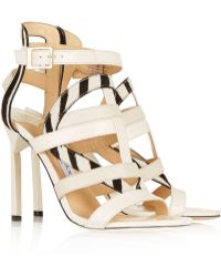 Jimmy Choo Vanquish Elaphe And Zebra-Print Calf Hair Sandals - Lyst