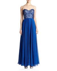 La Femme Lace-Top Strapless Gown - Lyst