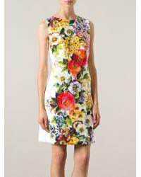 Dolce & Gabbana Flower Print Dress - Lyst
