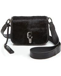 Via Spiga Jennifer Calf Hair Saddle Bag - Black