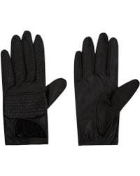Portolano - Black Nappa Woven Leather Biker Gloves - Lyst