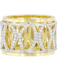 Carelle Full Diamond Pavé Spinning Athena Ring - Metallic