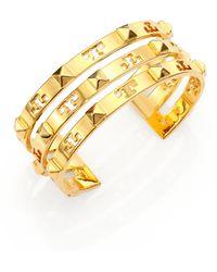 Tory Burch Stacked Logo Stud Cuff Bracelet - Lyst