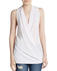 James Perse Drape-Front Sleeveless Top - Lyst