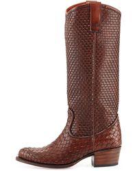 Frye Deborah Woven Leather Boot - Lyst