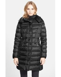 Moncler 'Hermine' Grosgrain Trim Down Coat black - Lyst