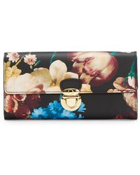 Badgley Mischka Floral-print Saffiano Leather Push-lock Wallet - Lyst
