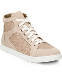 Enzo Angiolini Easovann Glitter & Suede High-Tops - Natural