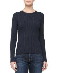Michael Kors Fitted Crewneck Rib-Knit Sweater - Lyst