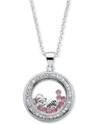 Palmbeach Jewelry - .46 Tcw Birthstone And Cz Floating Charm Pendant Made With Swarovski Elements In Silvertone - Lyst