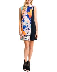 Cynthia Steffe Floral-Solid Sleeveless Shift Dress - Lyst