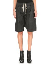 Rick Owens Waxed Cotton Shorts Black - Lyst