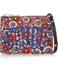 House of Holland Stuff Embroidered Printed Leather Shoulder Bag - Lyst