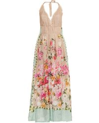 Emamó Floral And Butterfly-Print Silk Maxi Dress - Lyst