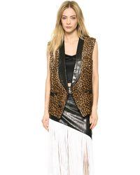 Rodarte Leopard Print Haircalf Vest Leopard - Lyst