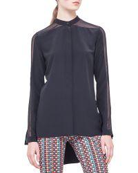 Akris Punto Band-collar Sheer-shoulder Silk Blouse - Lyst