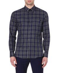 Alexander McQueen Mcq Skull Pocket Checked Shirt Indigo Multi - Lyst