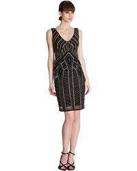 Theia Metallic Embroidered Sheath Dress - Lyst