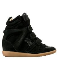 Etoile Isabel Marant Black Leather 'Bekett' Sneakers With Concealed Wedge - Lyst