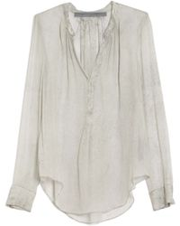 Raquel Allegra | Shirred Chiffon Blouse | Lyst