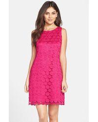 Eliza J Polka Dot Lace Shift Dress - Lyst