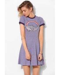 Lazy Oaf - Dolphins Are Fun Fit Flare Tee Dress - Lyst