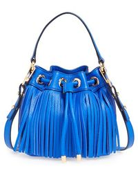 Milly Women'S 'Small Essex' Fringed Leather Bucket Bag - Blue - Lyst