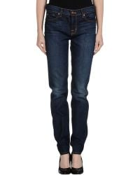 J Brand Blue Denim Trousers - Lyst