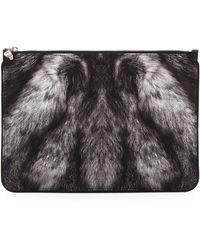Alexander McQueen Large Fur-print Skull Zip Pouch - Lyst