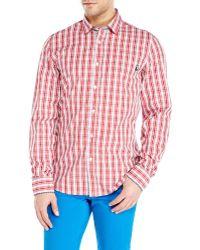 Love Moschino Red & White Plaid Sport Shirt - Lyst