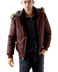 Guess Zip Up Puffer Jacket - Lyst