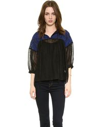 Suno Gauzy Smock Top  Black Blue - Lyst