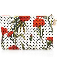 Dolce & Gabbana Carnation and Polka-dot Print Zip Pouch - Lyst