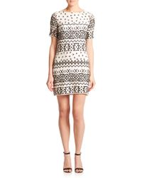 Alice + Olivia Jan Embroidered Silk Dress - Lyst