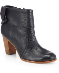 Kate Spade Lanise Bow Leather Ankle Boots - Lyst