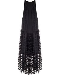 Chloé Geometric-Lace Panel Silk Dress - Lyst