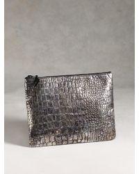 John Varvatos Metallic Croc Zip Pouch - Lyst