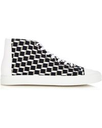Pierre Hardy Frisco Cube-Print High-Top Canvas Trainers - Lyst