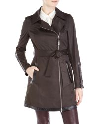 Mackage Black Belted Asymmetrical Trench Coat - Lyst