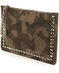 Pedro Garcia Crystal Studded Wristlet Olive Camo - Lyst
