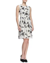 Lela Rose Fullskirt Floral Lace Dress - Lyst