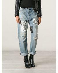 McQ by Alexander McQueen Printed Patch Boyfriend Jeans - Lyst