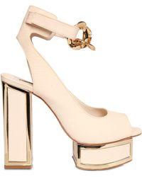 Kat Maconie 120Mm Suede Sandals With Chain Detail beige - Lyst