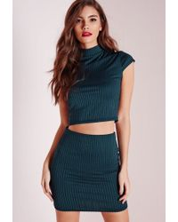 Missguided - Ribbed High Neck Cap Sleeve Crop Top Teal - Lyst