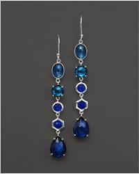 Ippolita Sterling Silver Rock Candy 5 Stone Linear Earrings In Dark Sea - Blue