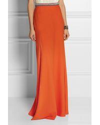 Saloni Vanessa Embellished Satin-crepe Maxi Skirt - Lyst