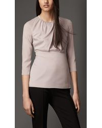 Burberry Stretch-silk Crossover Front Top - Lyst