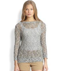 Theory Rainee Open-Knit Cotton & Linen Sweater - Lyst