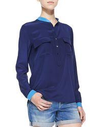 Vince Contrast-trim Silk Blouse - Lyst