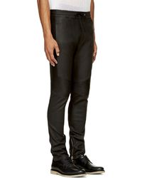 Balmain Black Leather Trousers - Lyst